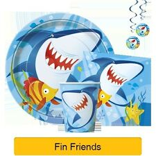 FIN FRIENDS Party Tableware & Decorations (Balloons/Napkins/Plates/Cups)