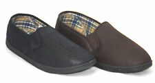 Mens High Quality LUXURY BLACK BROWN SLIPPERS Full Back Heavy Sole Size 8-12 NEW
