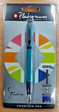 1 NEW PLATIGNUM STUDIO TURQUOISE MEDIUM NIB FOUNTAIN PEN + 1 BLUE & BLACK REFILL