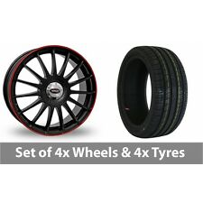"""4 x 16"""" Team Dynamics Monza RS Black Red Alloy Wheel Rims and Tyres -  205/45/16"""