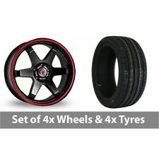"""4 x 18"""" Wolfrace Asia-Tec JDM Red Stripe Alloy Wheel Rims and Tyres -  245/45/18"""