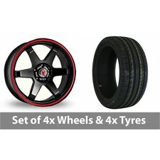 """4 x 17"""" Wolfrace Asia-Tec JDM Red Stripe Alloy Wheel Rims and Tyres -  215/45/17"""