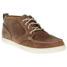 New Mens Timberland Brown Fulk Moc Toe Chukka Leather Boots Lace Up