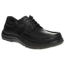 New Mens Hush Puppies Black Zach Leather Shoes Lace Up