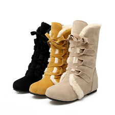 Womens Winter Fashion Suede Large Size Snow Boots Shoes Lace Up Ankle Boot W211