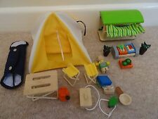 wooden dolls house furniture vegetable stall and camping tent