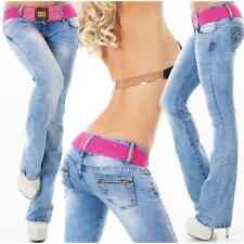 SEXY DAMEN BOOTCUT JEANS IM USED-LOOK MIT BUTTON-FLY BLAU #H1372