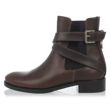 DSQUARED2 D2 New women brown Leather Ankle Boots AUTHENTIC Made in Italy