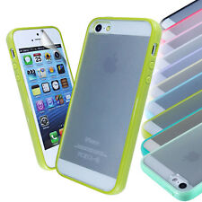 Transparent Back Silicone Gel Bumper Case Cover FOR iPhone 5G+Screen Protector