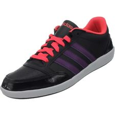 15fe2095cf9 Adidas VLNeo Hoops Low women's casual shoes black/purple/neon red sneakers  NEW