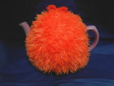 Funky fluffy tea cosy hand knitted in Wales BRIGHT ORANGE