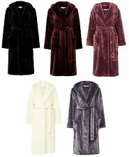 Slenderella Ladies Super Soft Thick Fleece Dressing Gown Luxury Hooded Bath Robe