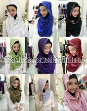 Fashion Solid Color Muslim Women Cotton Hijab Islamic Scarf Arab Shawls Headwear