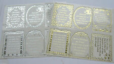 Pinflair Christmas Embossed Sentiment Verse Peel Offs Double Sized