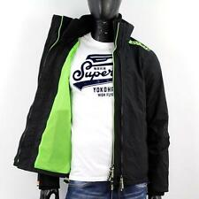 SUPERDRY Herren POP ZIP Technical WINDCHEATER 99 € Jacke NETZ Schwarz Grün X82