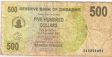 Zimbabwe  500 dollars 2007 used currency note (bearer cheque)