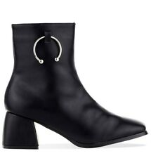 New Womens Black PU Leather Block Heeled Ankle Boots Zip Shoes Size 3 4 5 6 7 8