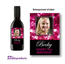 10x PERSONALISED PHOTO MINI WINE LABELS BIRTHDAY + CHRISTMAS 18th 21st 30th 40th