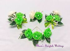 WEDDING FLOWERS BUTTONHOLE CORSAGE PACKAGE DEEP LIME GREEN ROSE DIAMANTE CRYSTAL