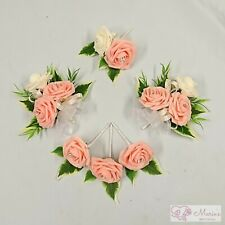 WEDDING FLOWERS BUTTONHOLE CORSAGE PACKAGE PEACH ROSES DIAMANTE CRYSTAL PEARL