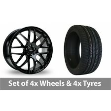 """4 x 20"""" Riva DTM Black Alloy Wheel Rims and Tyres -  295/40/20"""