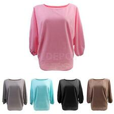 Women's Batwing Sleeve Sweater Plain Jumper Pullover Knitwear Tops Blouse Shirts