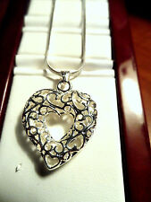New 925 SILVER Hollow HEART Necklace Set Filigree Pendant & Chain included GIFT!
