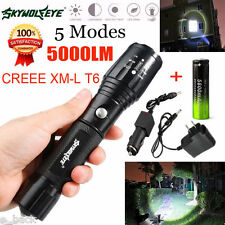 Zoomable 5000LM 5 Modes XML T6 LED Flashlight Torch Light+ Battery+ Charger UK