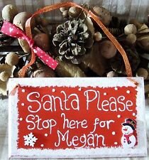 PERSONALISED HANDMADE SANTA STOP HERE CHRISTMAS PLAQUE SIGN PAINTED XMAS GIFT