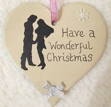 DISNEY PRINCESS POCAHONTAS HANDMADE PERSONALISED CHRISTMAS TREE HEART DECORATION