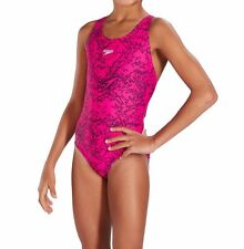 SPEEDO GIRLS SWIMSUIT/SWIMMING COSTUME.BOOM ALLOVER ELECTRIC PINK/BLACK 7S/3B352
