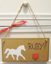 HANDMADE PERSONALISED WHITE HORSE PONY GIRLS BABY BEDROOM PLAQUE SIGN HOME GIFT