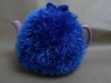 Funky fluffy tea cosy hand knitted in Wales BLUE