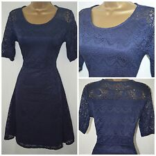 NEW PER UNA MARKS & SPENCER DRESS FIT & FLARE SKATER LACE NAVY SIZE 8 - 14