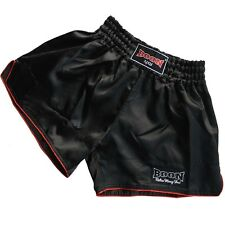 BOON Muay Thai Shorts, BMTS-200, Retro, schwarz, Short, Kickboxen, MMA, Satin