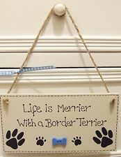 HANDMADE PERSONALISED PLAQUE SIGN PET DOG BREED PAW BONE SHABBY CHIC HOME GIFT