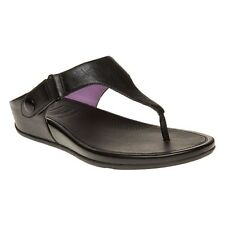New Womens FitFlop Black Gladdie Toe-Post Leather Sandals Flip Flops