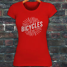 BICYCLES BIKE CYCLING ROAD MOUNTAIN SPORTS SPEED Womens Red T-Shirt