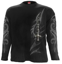 Spiral Tribal Chain Langarm Shirt Top Waisted Wrap Occult Gothic #3221 354