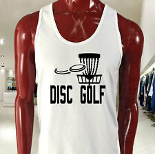 DISC GOLF FLYING DISC GAME TARGET PLAY FRISBEE Mens White Tank Top