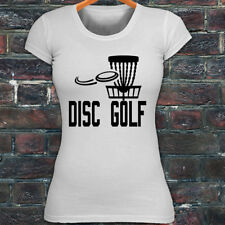 DISC GOLF FLYING DISC GAME TARGET PLAY FRISBEE Womens White T-Shirt