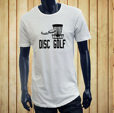 DISC GOLF FLYING DISC GAME TARGET PLAY FRISBEE Mens White Extended Long T-Shirt