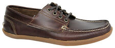 Timberland 4-Eye Odelay Leather Boat Lace Up Dark Brown Shoes Mens A13JW D37