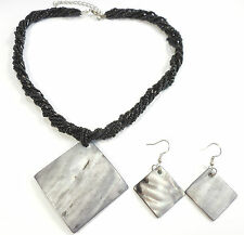 SHELL SILVER PLATED NECKLACE EARRINGS SET WHITE PINK RED ORANGE BLACK BLUE GREEN