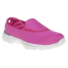 New Womens Skechers Pink Go Walk 3 Textile Trainers Running Style Slip On