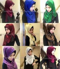 Fashion Lurex Muslim Long Scarf Hijab Islamic Shawls Shayla Arab Scarf Headwear