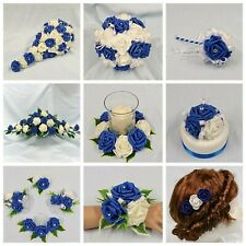 WEDDING FLOWERS BRIDE BRIDESMAID F/GIRL BOUQUET WAND CORSAGE PACKAGE ROYAL BLUE