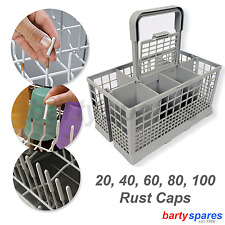 Universal Dishwasher Cutlery Holder Basket Cage & Rust Rack Tip Prong Cover Caps