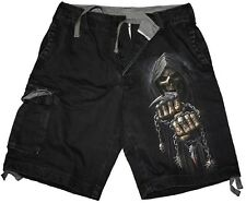 Spiral Game Over Stone Washed Short Cargo Hose Totenkopf Skelett Gothic 3221 258