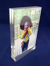 CHUNKY HIGH QUALITY ACRYLIC PHOTO BLOCK CLEAR PERSPEX PHOTO FRAME IDEAL GIFT